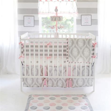 rose crib bedding pink and grey baby bedding pink baby bedding my baby sam