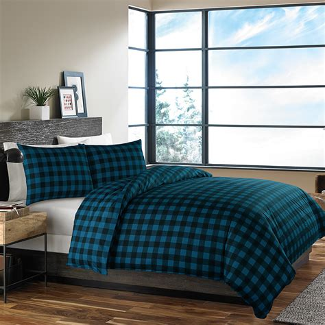 Duvet Comforter by Eddie Bauer Mountain Plaid Indigo Comforter And Duvet Set