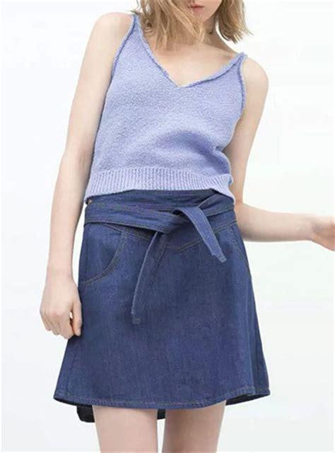 s denim skirt blue wrap around