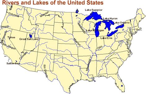 map of united states with great lakes rivers and lakes of the united states map work related