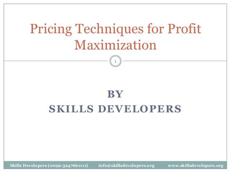 Pricing For Profit pricing techniques for profit maximization