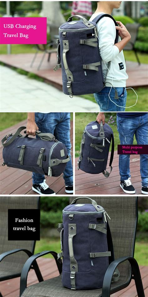 Tas Ransel Duffel Travel Dengan Usb Charger Port Black Blue tas ransel duffel travel dengan usb charger port black