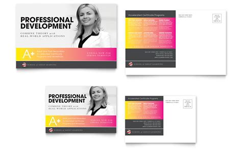 post card template publisher education business school postcard template word