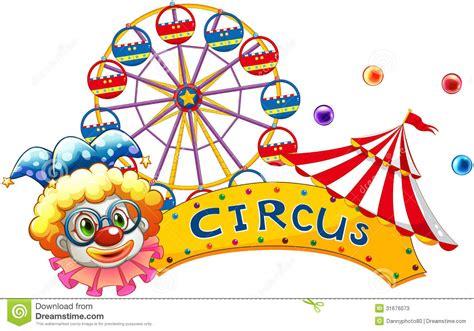 el circo con ventanas 8430549005 un pagliaccio accanto ad un insegna del circo illustrazione vettoriale immagine 31676073