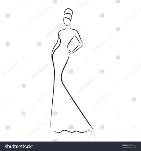 Fashion Outline by Fashion Model Sketch Silhouette Of Beautiful In Outline Style Vector Logo
