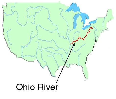 united states map showing ohio river the ohio river map