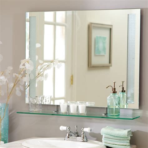 frameless bathroom mirror bathroom charming bathroom mirrors with shelves and