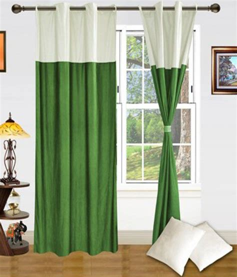 cream and green curtains vugis green cream plain polyester door curtain set of 2