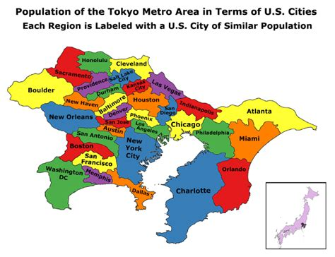 map of us cities by size population of the metro tokyo area compared to us cities