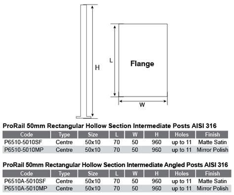 rectangular hollow section table post 50 x 10mm rhs intermediate flat handrail satin finish
