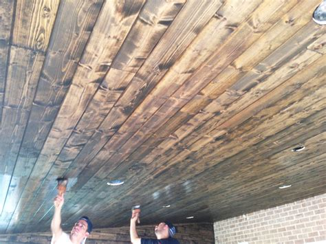 Staining Tongue And Groove Ceiling 1500 Trend Home