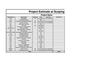 builders estimate template free construction estimate template