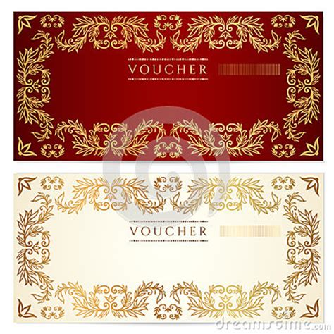 Voucher Gift Certificate Template Gold Pattern Royalty Free Stock Photography Image 30758537 Fancy Ticket Template
