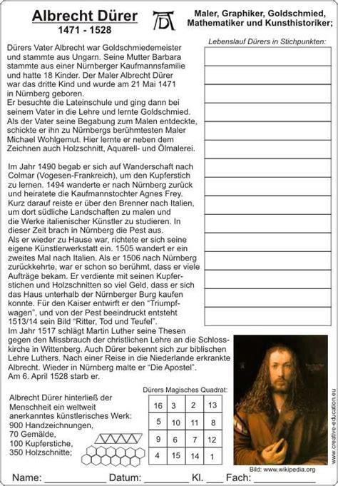 Lebenslauf Unterrichtsmaterial Albrecht D 252 Rer 1471 1528 Lebenslauf Mit Text Und Bildern Arbeitsblatt