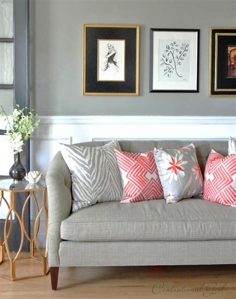 Coral And Gray Living Room by In The Living Room Centsational