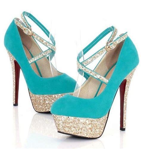 blue sparkly high heels shoes turquoise aqua pumps heels blue sparkle