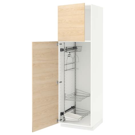 Kitchen Cabinet Cleaning Products Metod High Cabinet With Cleaning Interior White Askersund