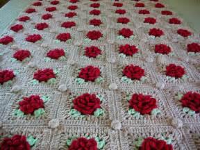 Denim Bedding Crochet Rose Blanket Raised Red Roses Throw Afghan Twin Size