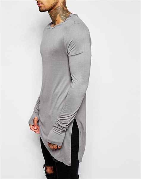 Longline Asymmetric T Shirt lyst asos bamboo jersey longline sleeve t
