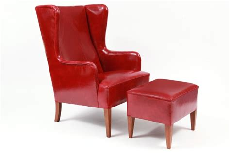 leather wingback chair with ottoman illums bolighus leather wingback chair and ottoman red