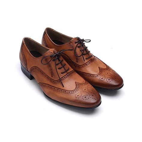 mens wingtips punching leather dress shoes