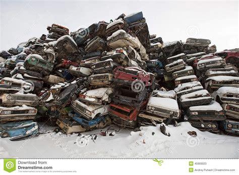 Car Dump Yards by Broken Car In Winter Yard Royalty Free Stock Photo