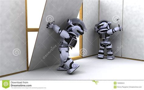 Robot Contractor Building A Drywall Stock Images   Image