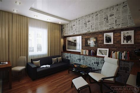home interior design ideas wallpapers retro poster wallpaper lounge feature wall interior