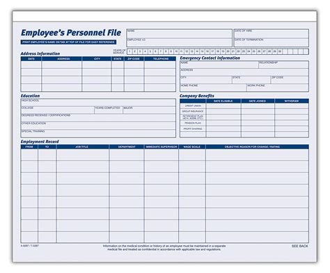 Employee Personnel File Template Charlotte Clergy Coalition Personnel Records Template