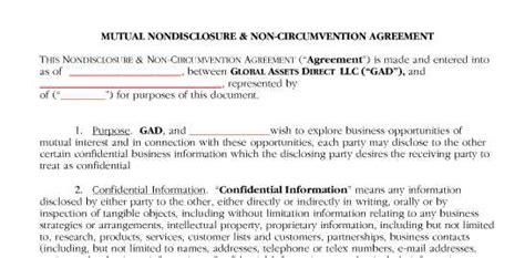 Non Circumvent Agreement Mark I Anson Property Non Circumvention Agreement Template