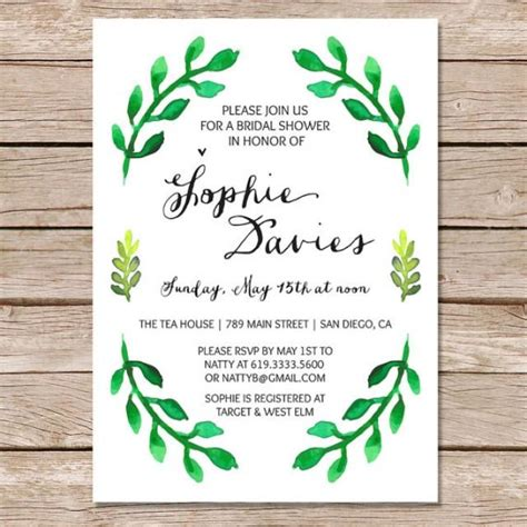 nature themed bridal shower invitations botanical bridal shower invitation bridal shower