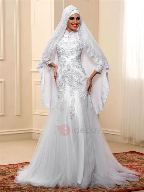 Islamic Wedding Gowns by Appliques Sequins High Neck Muslim Wedding Dress Tidebuy