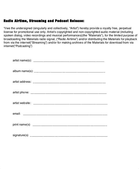 sample artist release form  examples  word