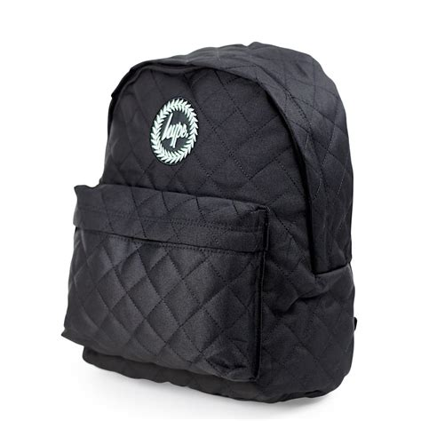 Quilted Back Pack by Just Hype Quilted Backpack Black At Schoolbagstation