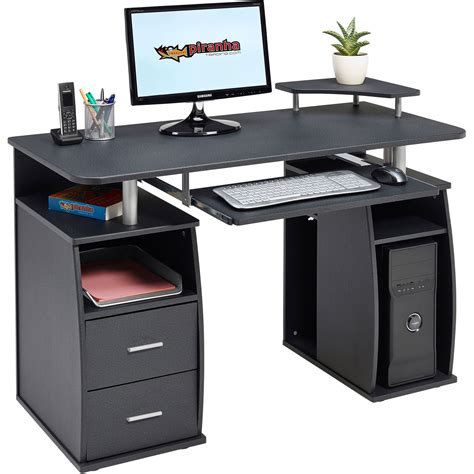 computer office desk computer desk with shelves cupboard drawers for home