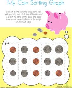 picture graph sorting coins worksheet education com