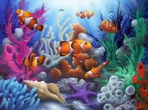 sea life wall murals sea life with clown fish wall mural drawing animals