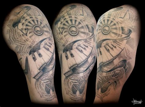 music sleeve tattoo piano halfsleeve