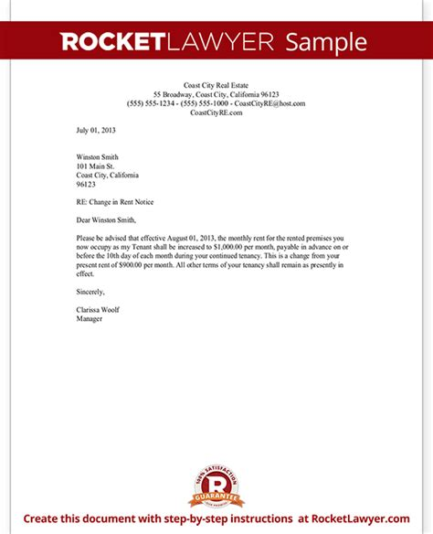 Rent Escalation Letter Rent Increase Letter With Sle Notice Of Rent Increase Template Form