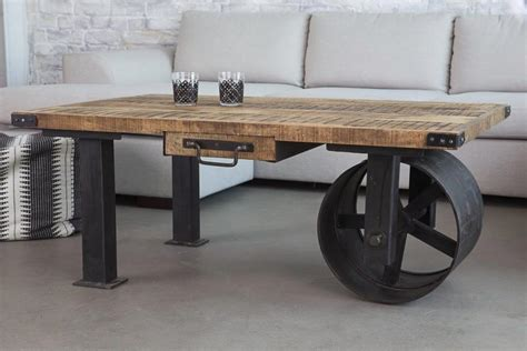 Industrial Coffee Table With Wheel From Barak 7 Decoist Industrial Coffee Tables With Wheels