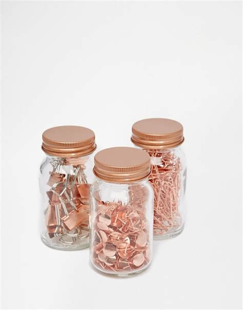 rose gold desk accessories paperchase paperchase get organised set of 3 copper clip