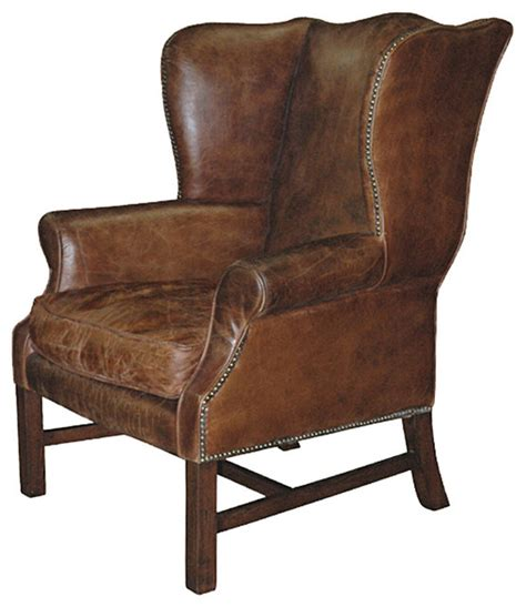 Chair Armchair by Gaston Rustic Lodge Aged Leather Wingback Library Arm