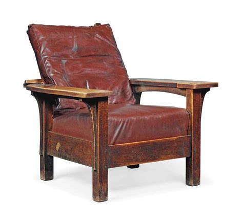 an l j g stickley stained oak adjustable armchair