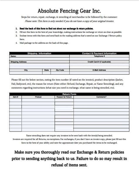 It Return Form Pdf Free Return Exchange Form Template