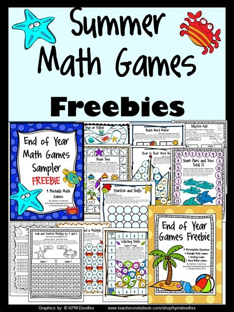 summer themed games fun games 4 learning summer math games freebies and end