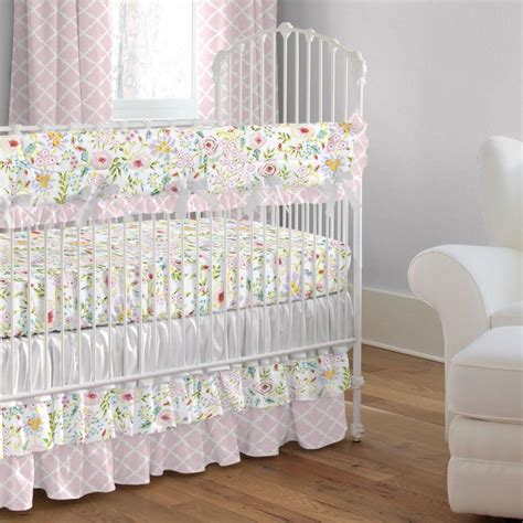 Pink And Gray Primrose 2 Piece Crib Bedding Set Carousel Pink Baby Bedding Sets