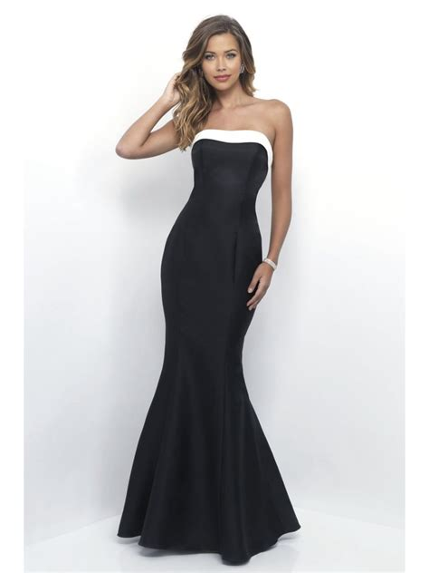 Handmade Bridesmaid Dresses - mermaid black white floor length bridesmaid dresses