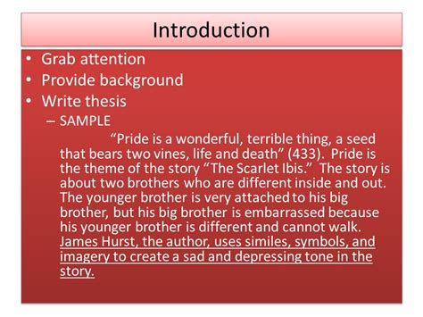 The Scarlet Ibis Essay by Literary Analysis Essay Ppt