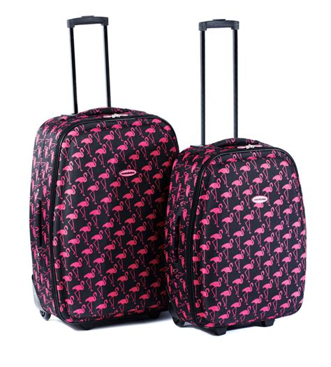 constellation flamingo printed 2 piece luggage suitcase
