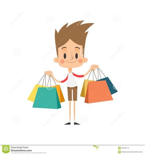 bid shopping boy shopping bags stock vector image 63434774
